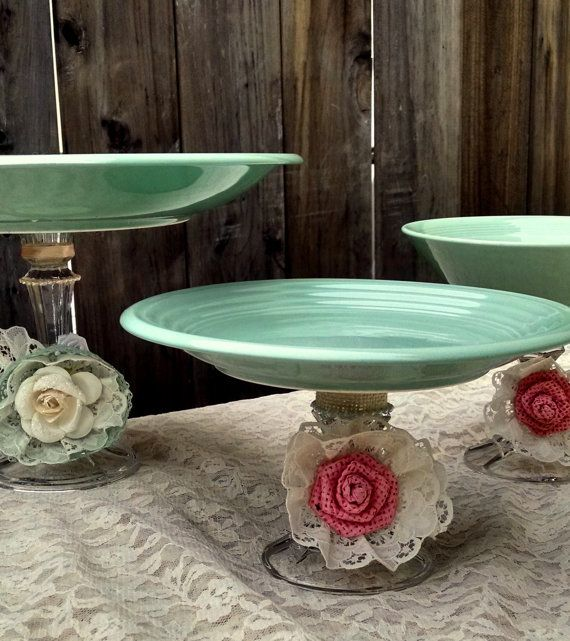 Mint Green Shabby Chic Dessert Buffet Dishes. Handcrafted rustic inspired pedestals for your treats!
