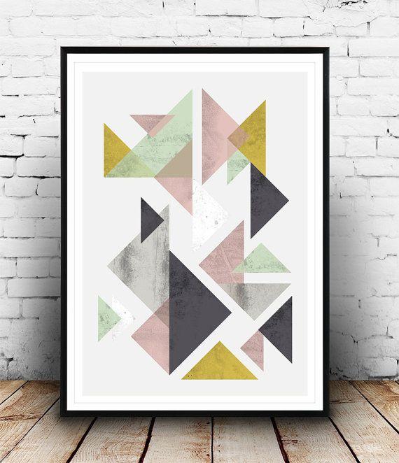 Geometrische Poster Dreiecke abstrakt Aquarell von Wallzilla