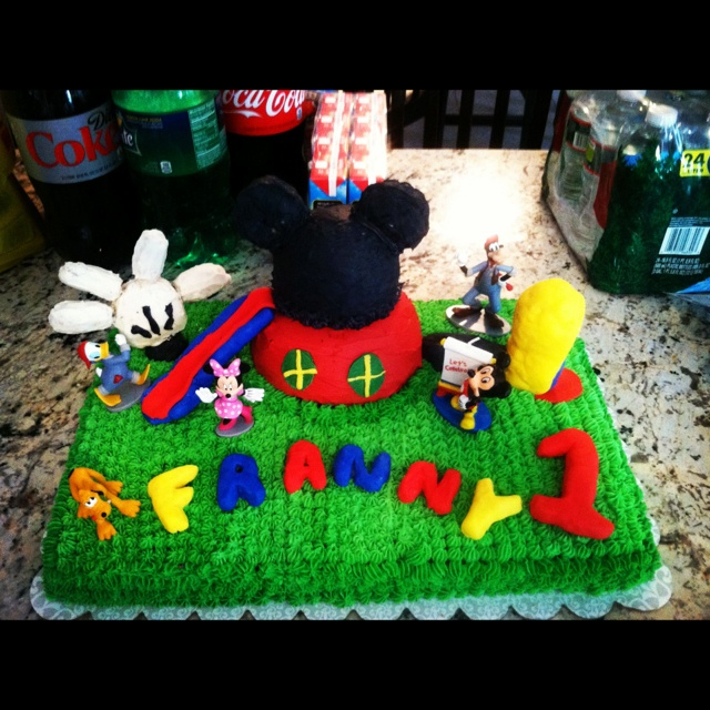 Mickey Mouse Clubhouse Birthday Cake we made : )