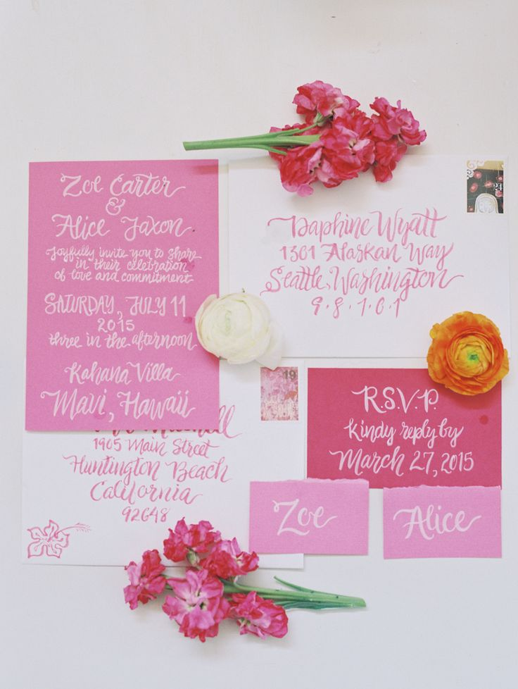 summer fete wedding invitations%0A Pretty pink summer invitation suite  http   www stylemepretty com