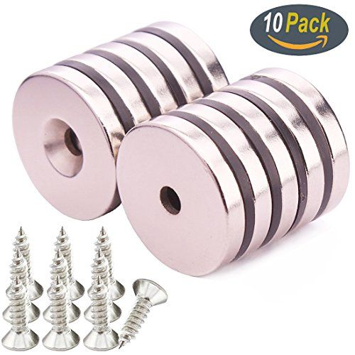 KYGNE 10 PACK Neodymium Disc Countersunk Hole Magnets, Strong, Permanent, Rare Earth Magnet With 10PACK Screws for Crafts #KYGNE #PACK #Neodymium #Disc #Countersunk #Hole #Magnets, #Strong, #Permanent, #Rare #Earth #Magnet #With #Screws #Crafts