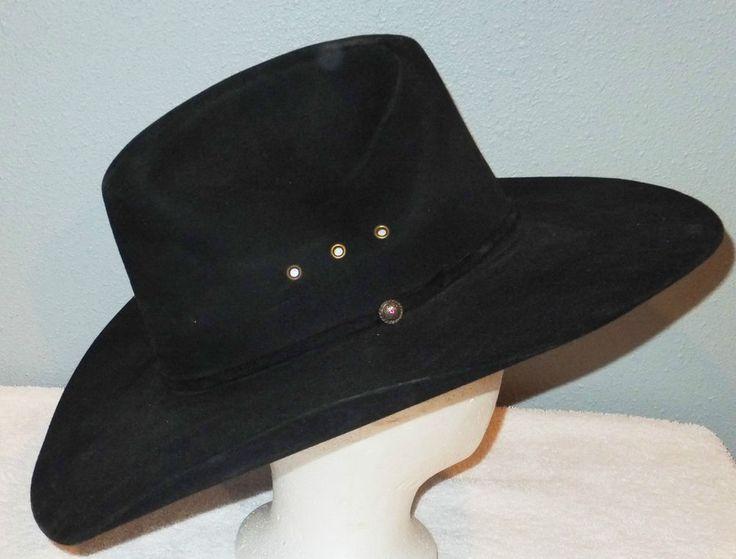 Vintage RESISTOL COWBOY Hat Black Western TEXAS Size 7 1/8 Self Conforming #Cowboy