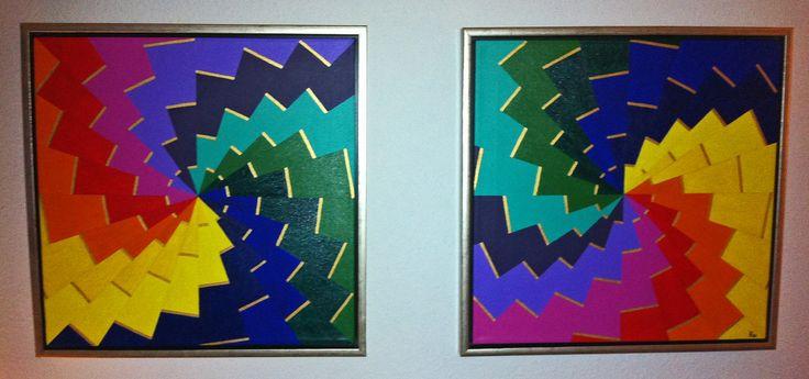 """Titel """"Paletten"""" 2 pics 50x50 cm. Acrylic Colors"""