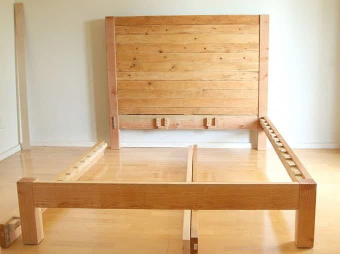 How To Build A Beautiful Diy Bed Frame Wood Headboard Easily Free Plan Variations On King Queen Twi Wood Bed Frame Diy Bed Diy Bed Frame Easy