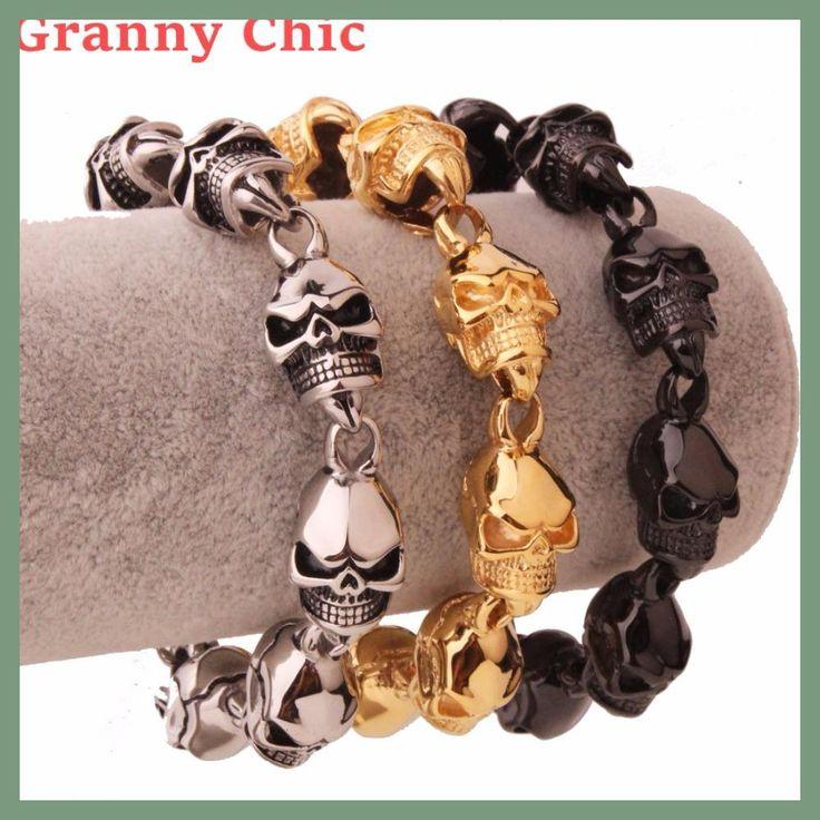 Granny Chic New Men's Punk Skull Bracelet 316L Stainless Steel Link Wrist Skulls Gothic Bracelets pulsera calavera Jewelry Gift