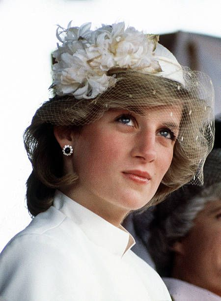 Princess Diana (1961 - 1997) at a welcome ceremony in Tauranga, Tasmania, 31st March 1983. She is wearing a Jasper Conran suit and a veiled hat by John Boyd.