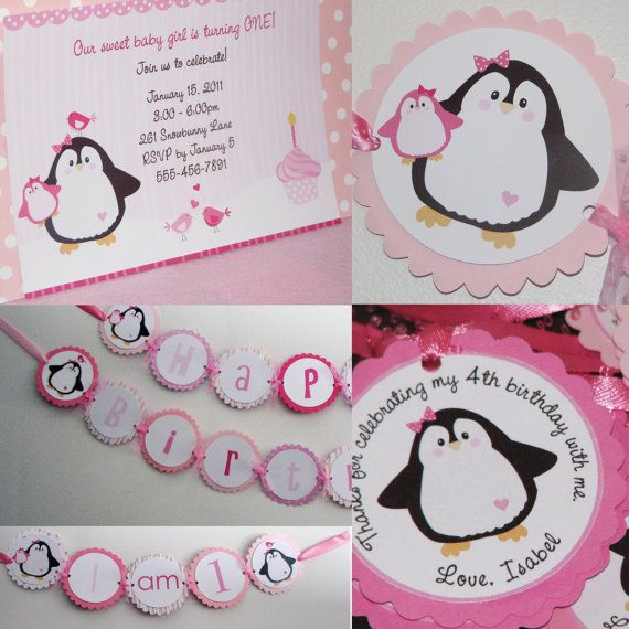 Penguin Girl 1st Birthday Party Package Invitations Birthday Banner High Chair Banner Favor Tags Thank You Cards Winter Birthday