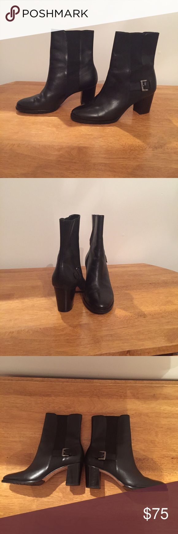 Cole Haan black leather ankle boots 7.5 Cole Haan black leather ankle boots 7.5 with decorative buckle and pull on style Cole Haan Shoes Ankle Boots & Booties