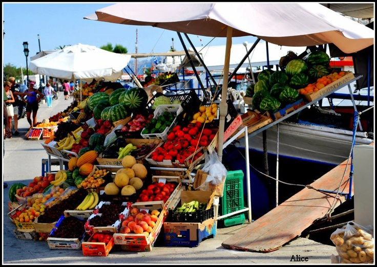 Fruit Market On The Boat Aigina Port Greece