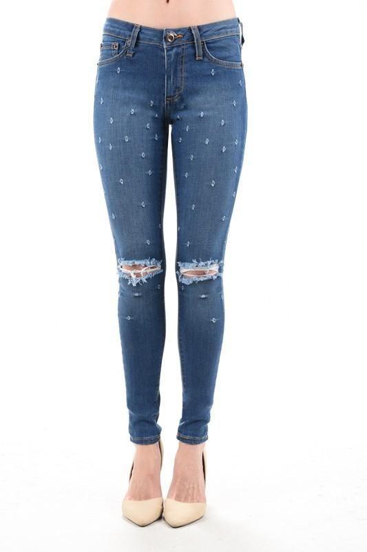 Destroyed Knee Rip Skinny Jeans