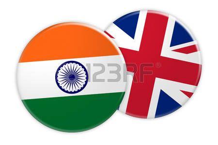 Concepto de las noticias: Botón de la bandera de la India en el botón de la bandera de Reino Unido, ilustración 3d en el fondo blanco