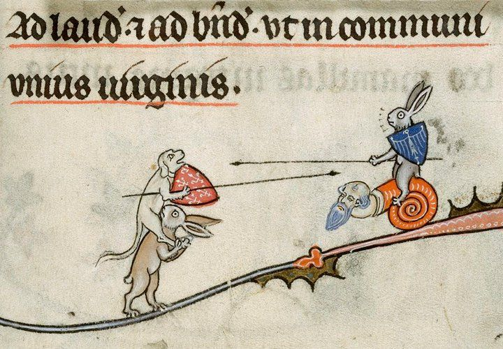 rabbits jousting  The Breviary of Renaud de Bar, Metz 1302-1303.  BL, Yates Thompson 8, fol. 294r