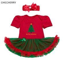 Meu Primeiro Natal Do Bebê Traje Roupas de Menina Vestidos Vestidos Infantis Headband Do Partido Meninas Vestido Vermelho Do Natal Roupa Infantil(China (Mainland))