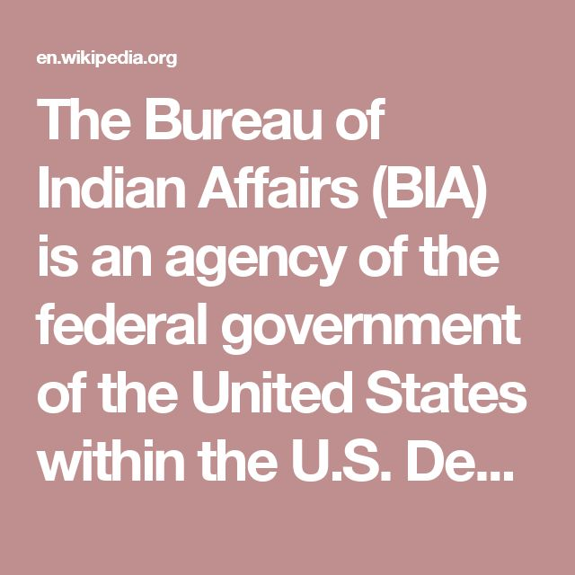 The Bureau of Indian Affairs (BIA) is an agency of the federal government of the United States within the U.S.Department of the Interior. It is responsible for the administration and management of 55,700,000 acres (225,000km2) of land held in trust by the United States for Native Americans in the United States, Native American Tribes and Alaska Natives.
