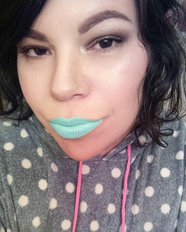 Max Makeup Cherimoya liquid lipstick in light blue / aqua. From the Unicorn trio, which is $5 at TJ Maxx!
