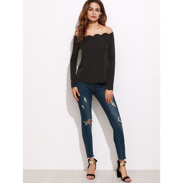 SheIn(sheinside) Black Off The Shoulder Scallop Top (£7.28) ❤ liked on Polyvore featuring tops, scallop hem top, off shoulder tops, scallop top and off-the-shoulder tops