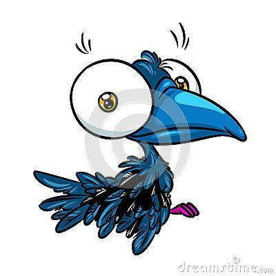 Crow big eyes caricature illustration  isolated image animal character