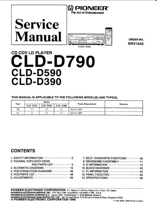 Pioneer CLD-D390 , CLD-D590 , CLD-D790 Laser Disc , Service Manual * PDF format suitable DOWNLOAD