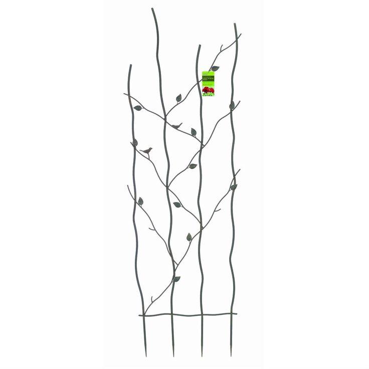 60-inch High Metal Garden Trellis with Climbing Vine Leaf Design