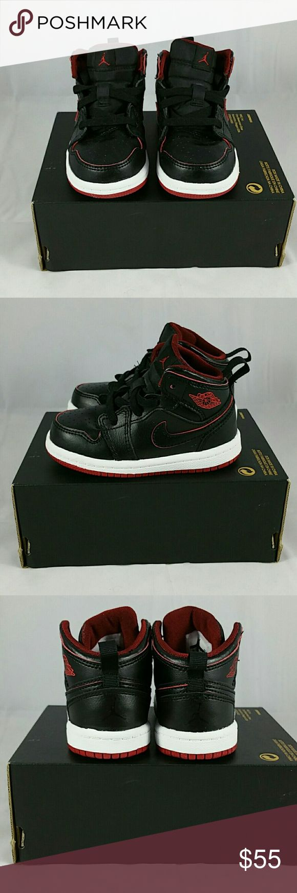 Kid's Jordan Shoes Michael Jordan 1 Mid BT Size - 6C Color - Black/White/Gym Red  Can be worn by boys or girls facebook.com/CombsConnection/shop Nike Shoes Sneakers