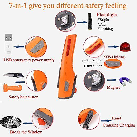 Amazon.com: coche de seguridad martillo 7-en-1 de Emergencia de Rescate de Desastres escapar de la vida martillo herramienta de ahorro Kit (Naranja): Automoción