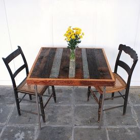 Give your old card table a new look with this diy reclaimed wood tabletop.