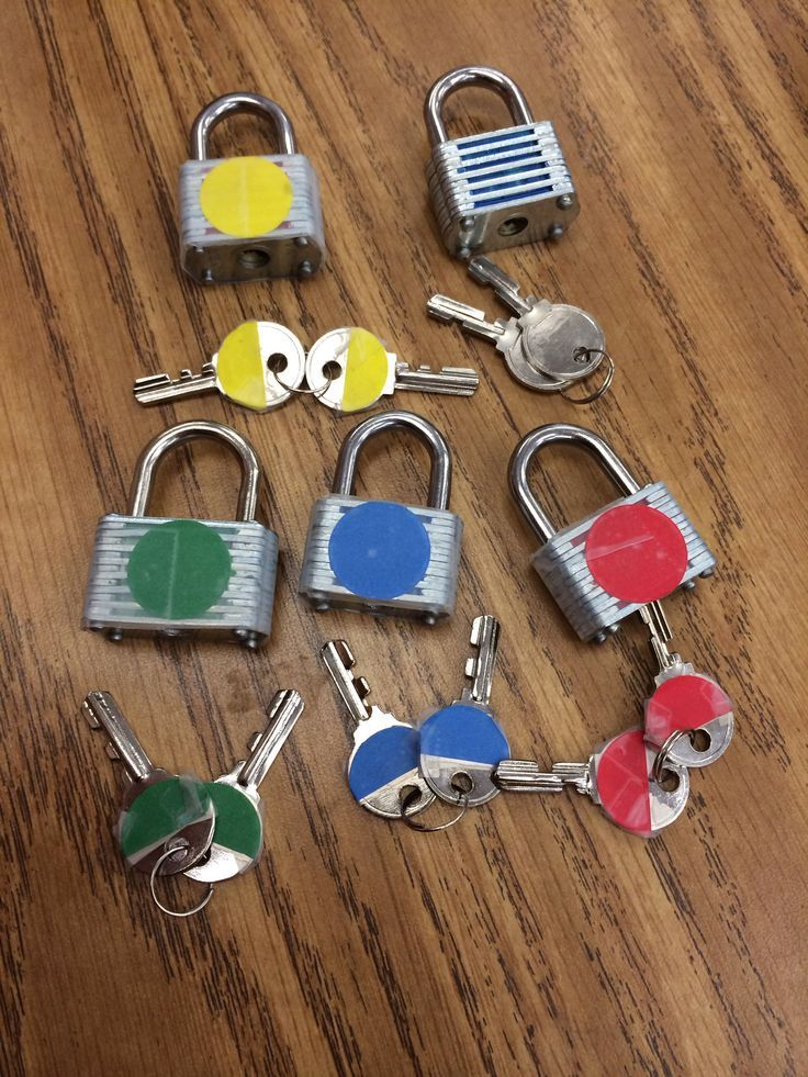 Color coordinated lock task box! Locks from the dollar store, cheap and easy and the kids love it!