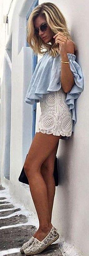 Chambray Ruffle Top + White Lace Shorts                                                                             Source
