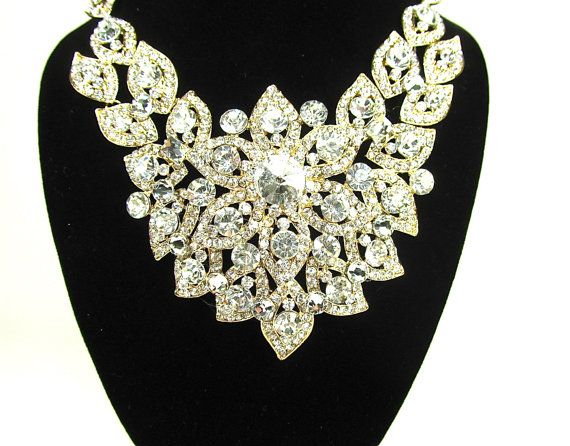 Gold Chunky Rhinestone Crystal Bridal Statement by bloomsnbrides, $72.00