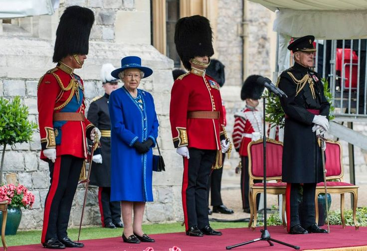 The Queen, Colonel-in-Chief, accompanied by The Duke of Edinburgh, and The Prince of Wales, accompanied by The Duchess of Cornwall, presented New Colours to the 1st Battalion Welsh Guards at Windsor Castle today,