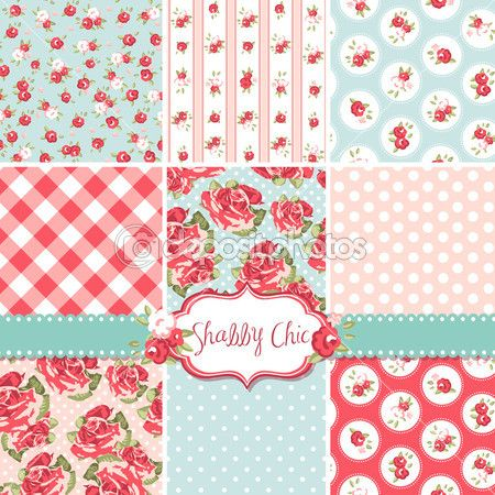 Shabby Chic Rose Patterns and seamless backgrounds. Ideal for printing onto fabric and paper or scrap booking. — Stock Illustration #16794071