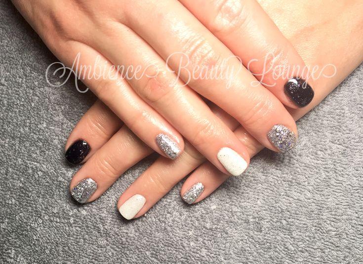 Glitter nails New Years Eve Nails Gelish Black Grey White
