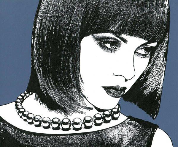 high fashion womans face original art print pearl necklace black hair beauty salon artwork
