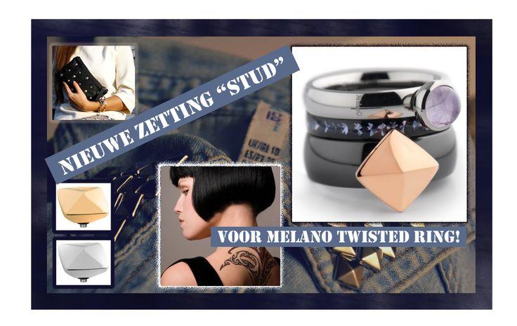 """Maak jouw Twisted ring van Melano sieraden stoer met de nieuwe zetting """"stud""""!"""