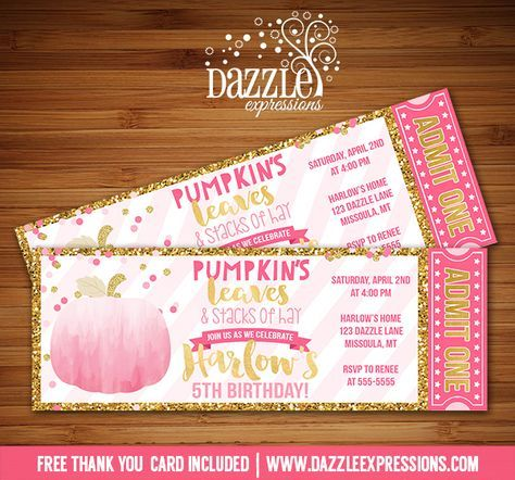 Printable Watercolor Pumpkin Ticket Birthday Invitation | Pink and Gold Glitter | Gold Foil | Confetti | Girl 1st Birthday | October and Fall Birthday Party Ideas | FREE thank you card included | Hay Ride | DIY | Digital File | Matching Printable Party Package Decorations Available! Banner | Cupcake Toppers | Favor Tag | Food and Drink Labels | Signs | Candy Bar Wrapper | www.dazzleexpressions.com