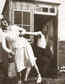 Asta Nielsen and Joachim Ringelnatz having fun on Hiddensee Island in the Baltic Sea