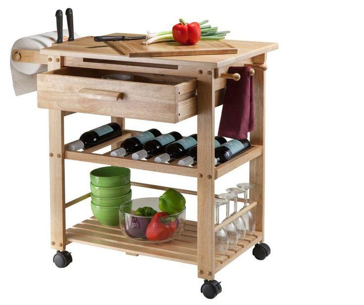 Rolling Portable Wood Top Cabinet Shelf Kitchen Island Storage Utility Cart  New #WinsomeWood