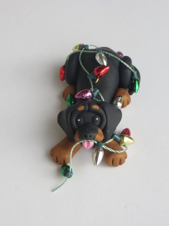 Dachshund Dog Christmas Ornament Polymer Clay by HeartOfClayGirl