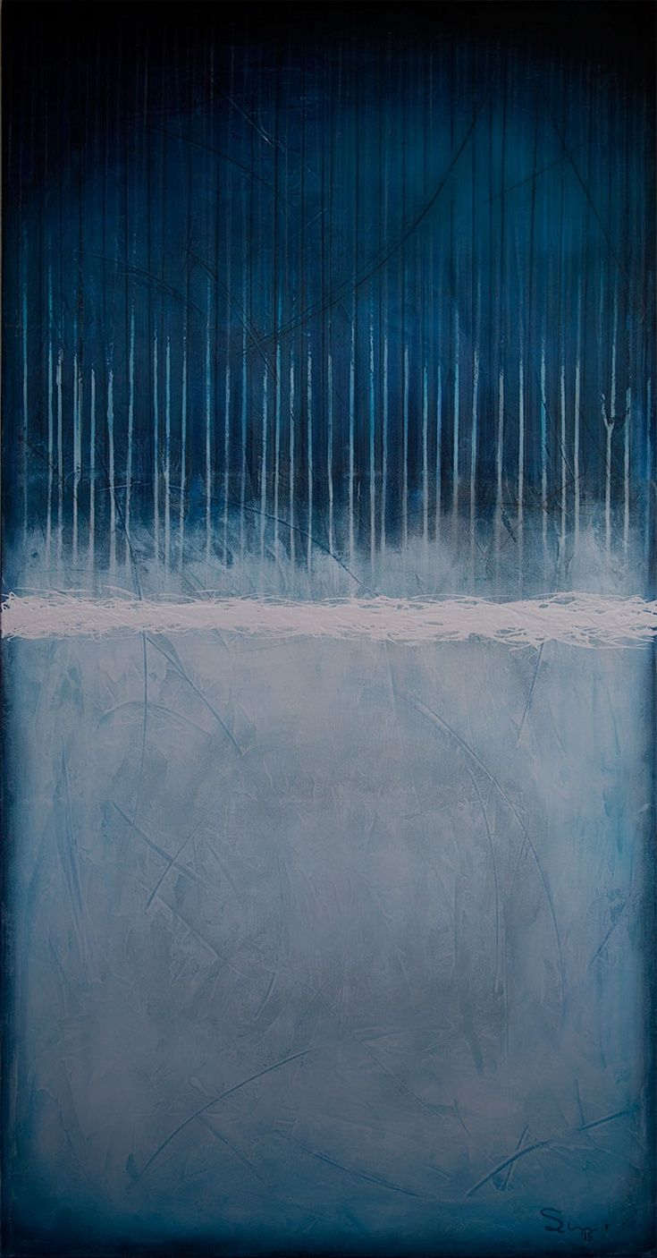 Winter Blues by Robert Slivchak - 34.5″ x 69″ Mixed media on canvas, stretched over a handmade (by artist) frame! #art #painting #abstract