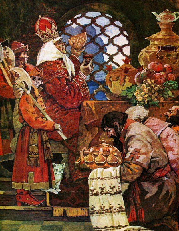 """Illustrator Nikifor Raschektaev Forfatter Alexander Pushkin """"Eventyret om den gyldne fisk"""" Land USSR, russisk Forlag Priokskoe CI År 1976"""