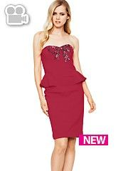 Definitions Beaded Bow Peplum Dress. #partyinstyle http://www.very.co.uk/women/dresses/e/b/1655.end