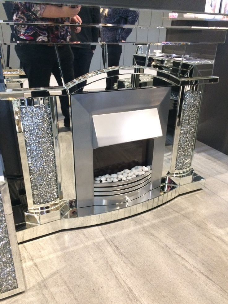 Diamond Crush Sparkle Mirrored Emperor Fire Place With