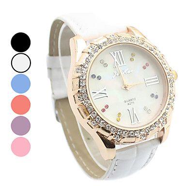 Women's Diamante White Dial PU Band Quartz Analog Wrist Watch (Assorted Colors)   – USD $ 5.99