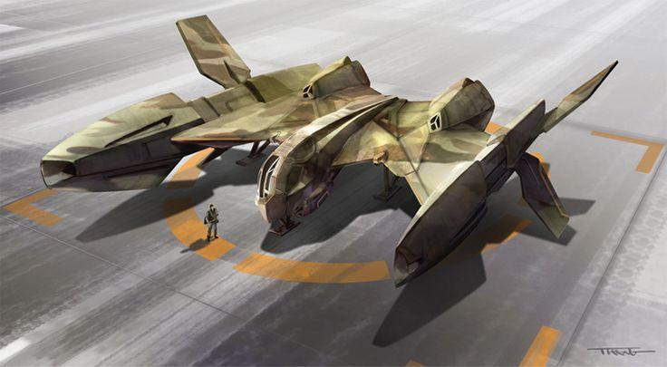 Aerospace fighter on landing pad.