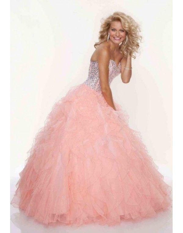 luxusní lososové plesové šaty na maturitní ples Viola XS-M - Hollywood Style E-Shop