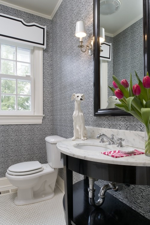 I love the serenity of this cool gray, patterned wallcovering