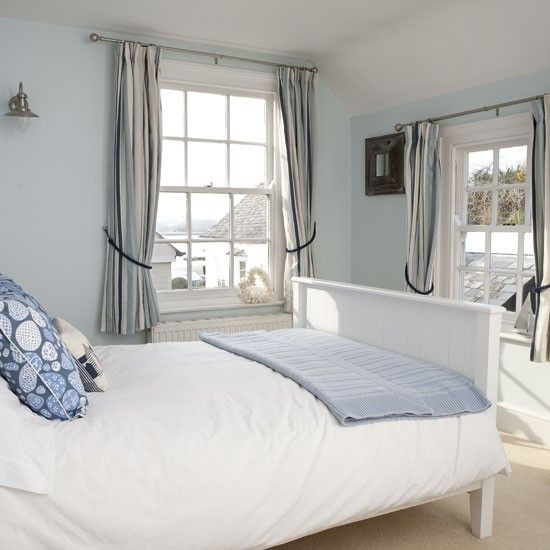 Pale blue bedroom | Bedroom designs | Knitted throws | housetohome.co.uk