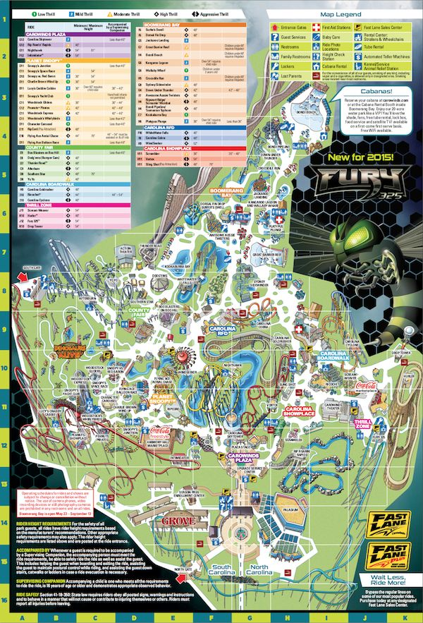 Park Map Carowinds Charlotte Nc Summer Fun