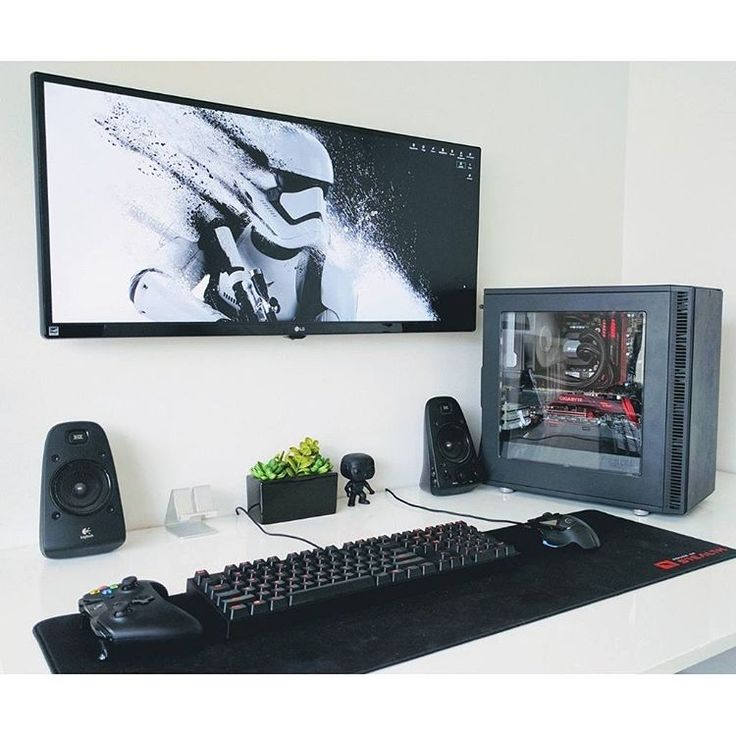 "111 Likes, 3 Comments - Mal - PC Builds and Setups (@pcgaminghub) on Instagram: ""An oddly high monitor mount, but a very clean and colour coordinated setup. By Redditor…"""