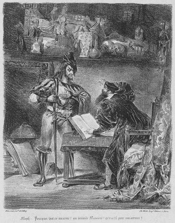 Méphisto apparaissant à Faust. Eugène Delacroix. 1828. Musée Eugène Delacroix, Paris.